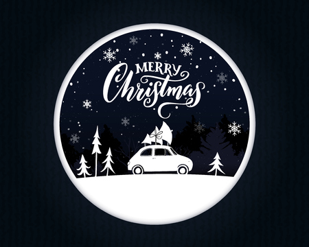 Papercut Christmas card with vintage car carrying a spruce on the top. Merry Christmas text on night scene. Illustration