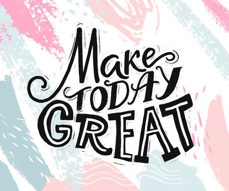 偉大な今日。日開始についての心に強く訴える引用。ソーシャル メディア、カード、ポスターのやる気を起こさせるフレーズ。抽象的なパステル ピ  イラスト・ベクター素材