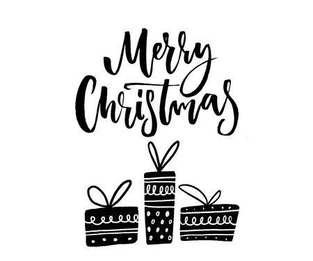 Merry Christmas text. Brush calligraphy and tree hand drawn wrapped gift boxes. Monochrome vector design. Illustration