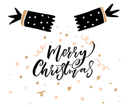 Hand drawn chracker with decorations and calligraphy Merry Christmas caption