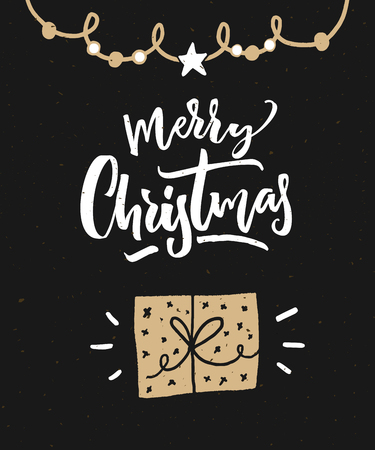 Merry Christmas greeting card. Dark black background with calligraphy text and hand drawn gift box.