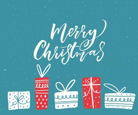 メリー クリスマス ギフト ボックスの手描きイラストを使用したカード デザインの挨拶します。青色の背景に白いテキスト。  イラスト・ベクター素材
