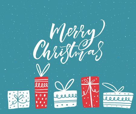 Merry Christmas greeting card design with hand drawn illustrations of gift boxes. White text on blue background.