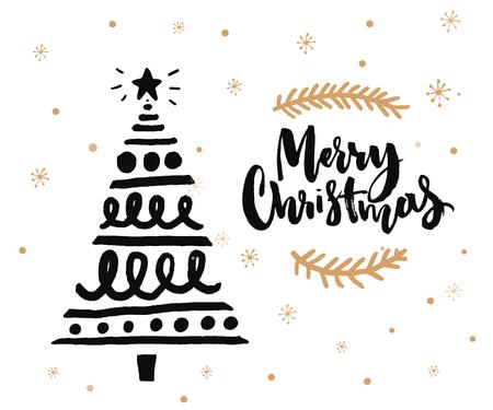 クリスマス カード デザイン ブラシ書道と手は、飾られたクリスマス ツリーをスケッチしました。黒インク ホワイト バック グラウンドと黄金の雪