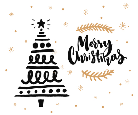 Christmas card design with brush calligraphy and hand sketched decorated Christmas tree. Black ink on white background and golden snowflakes