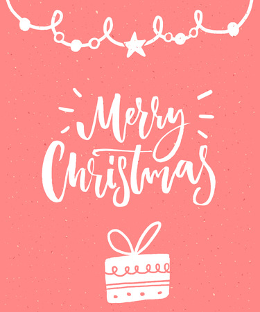 Merry Christmas. Delicate pink card design with brush lettering and hand drawn present Stock Vector - 89106630