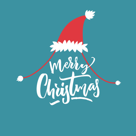 Merry Christmas caption in red Santa hat at blue background. Funny card design