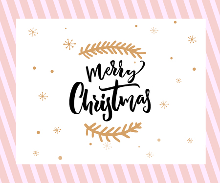 Merry Christmas brush lettering with minimalistic decorations at white and pink background. Greeting card template.