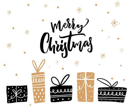 Merry Christmas minimalistic card design with calligraphy text and gift boxes. Black and gold colors Stock Photo