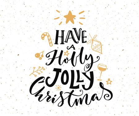 Have a holly jolly Christmas text. Christmas card design with typography and gold doodles at white background  イラスト・ベクター素材