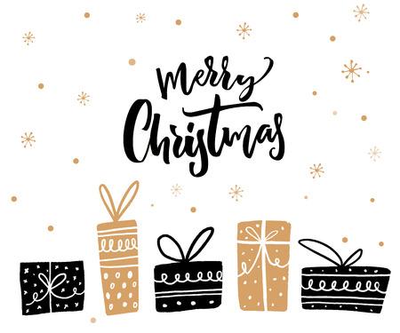 メリー クリスマス ミニマルなカード デザイン書道テキストとギフト ボックス。黒と金の色。