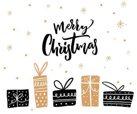 Merry Christmas minimalistic card design with calligraphy text and gift boxes. Black and gold colors. Иллюстрация