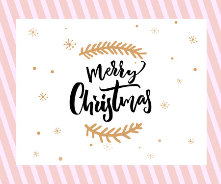 Merry Christmas brush lettering with minimalistic decorations at white and pink background. Greeting card template