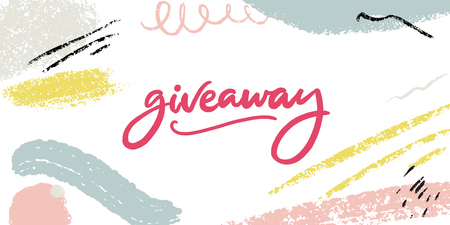 Giveaway banner with modern calligraphy and abstract pastel background with paint strokes.