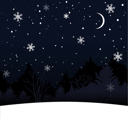 Christmas card with blank space for text. Blue night sky, falling snow and trees silhouette. Illustration