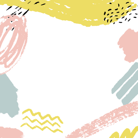 Minimalistic background with paint brush strokes. Hand drawn texture with white, pastel pink and blue colors Vettoriali
