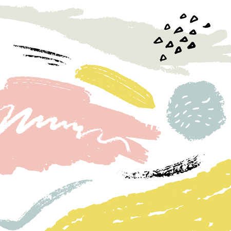 Minimalistic background with paint brush strokes. Hand drawn texture with white, pastel pink and blue colors Ilustrace