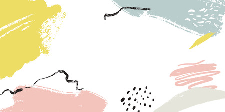 Minimalistic background with paint brush strokes. Hand drawn texture with white, pastel pink and blue colors  イラスト・ベクター素材