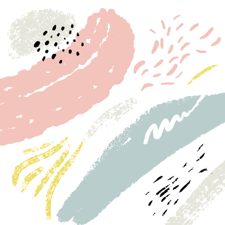 Minimalistic background with paint brush strokes. Hand drawn texture with white, pastel pink and blue colors 矢量图像