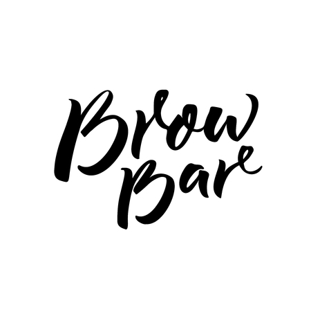 Brow bar text for logo. Calligraphy inscription for beauty salon. Black brush lettering isolated on white background. Illustration