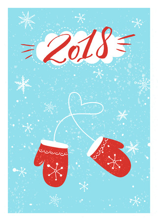 Christmas cards design with hand written inscription 2018 and illustration of red mittens on blue background with snowflakes.