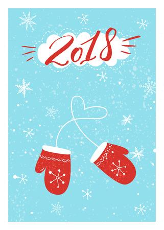 Conception de cartes de Noël avec inscription manuscrite 2018 et illustration de mitaines rouges sur fond bleu avec des flocons de neige. Banque d'images - 89465549