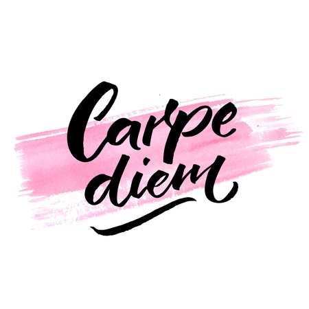 Carpe diem - latin phrase means seize the day, enjoy the moment. Inspiration quote brush calligraphy handwritten on pink watercolor stroke. 向量圖像