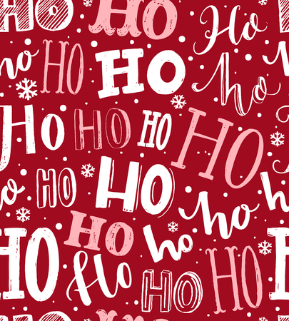 Ho ho ho pattern. Funny christmas background for gift wrapping. White lettering and hand drawn snow on red background. Santa Claus laugh.