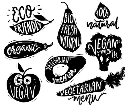 Vegetarian menu badges and stickers for cafe and restaurants. Vegan text on the vegetable labels for natural products. Broccoli, avocado, carrot hand drawn silhouettes with lettering.