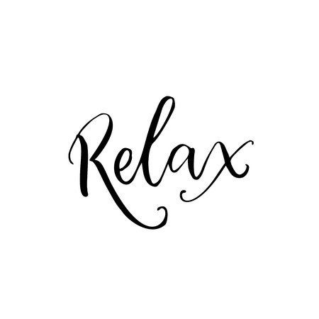Relax. Black calligraphy word isolated on white background. Yoga class poster, meditation caption.