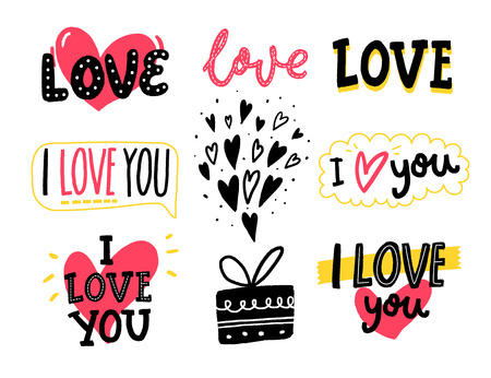 Love words and hand drawn hearts. Set of romantic stickers for Valentines day greeting cards, wedding and social media. Vectores