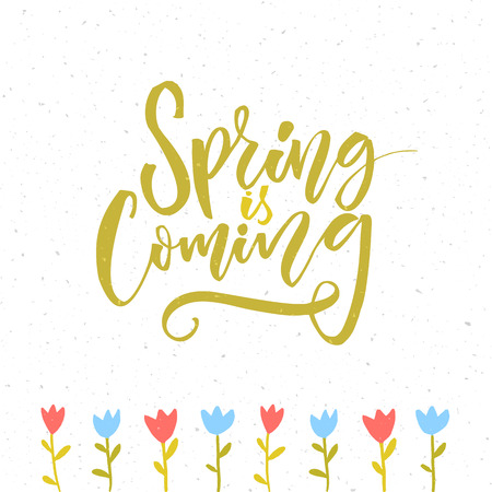 Spring is coming. Inspirational quote about spring season start. Modern calligraphy and hand drawn tulip flowers