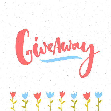 Giveaway banner with pink handwritten word and hand drawn tulip flowers. Ilustracja