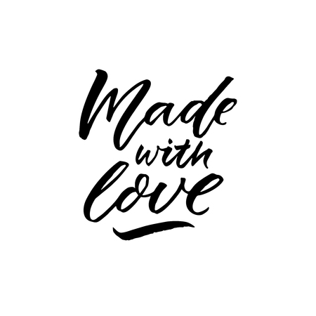 Made with love calligraphy caption for product labels.
