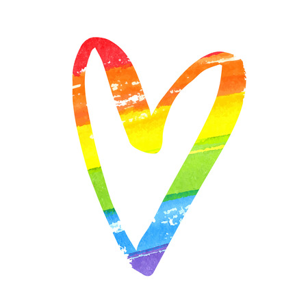 Rainbow watercolor heart. LGBT flag symbol isolated on white background.