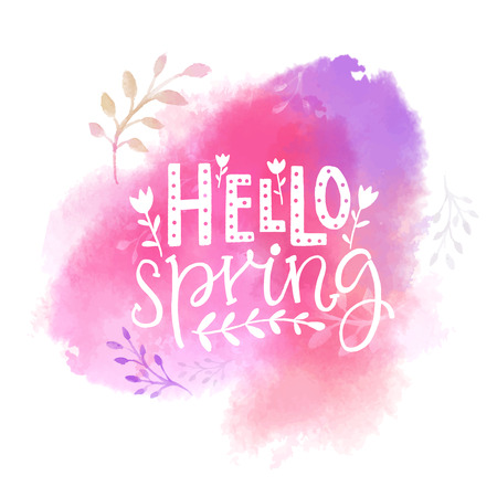 Hello spring text on pink watercolor swash. Illustration