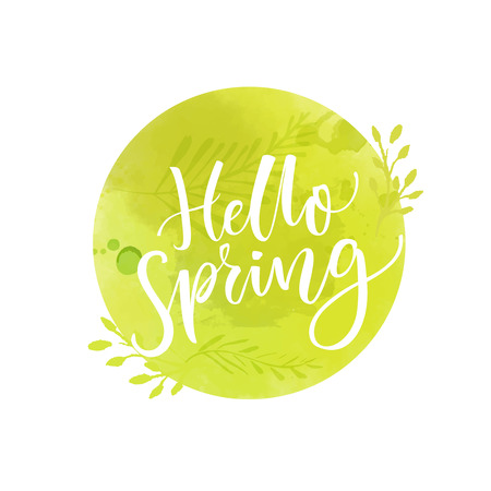 Hello spring sign. Green round badge with calligraphy text.