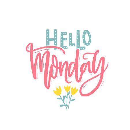 안녕하세요 월요일 비문. 소셜 미디어 및 카드를위한 필기구. 현대 브러쉬 서예 옴 흰색 배경 일러스트
