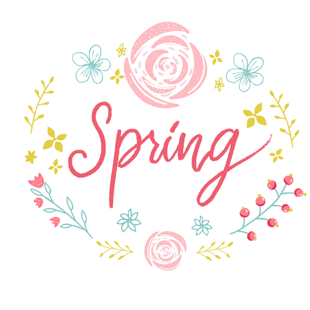 Spring word in floral wreath. Pink lettering and flowers