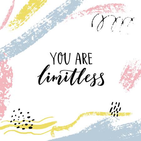 Je bent grenzeloos. Bemoedigend citaat. Motiverend gezegde, borstel belettering op abstracte achtergrond met pastel penseelstreken.