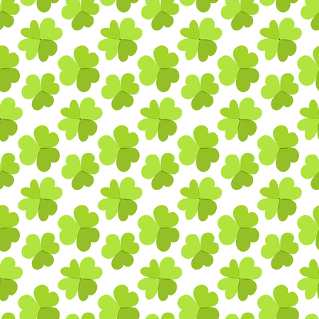 St. Patricks day background. Four leaf clover seamless texture. Symbol of luck, green shamrock backdrop. Illustration
