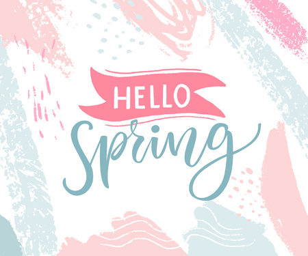 Hello spring banner with pink and blue pastel strokes.