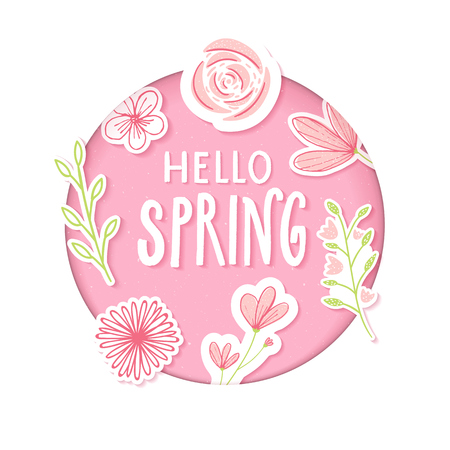 Hello spring text in pastel pink paper clip art with flowers and hand drawn branches. Illustration