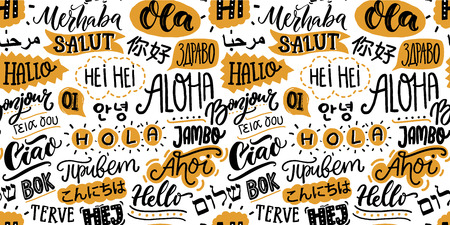 Text seamless pattern with word hello in different languages. French bonjur and salut, spanish hola, japanese konnichiwa, chinese nihao and other greetings. Handwritten background for hotels and schools.