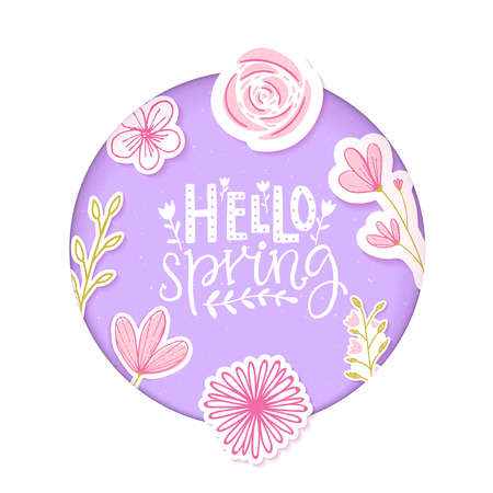 Hello spring text in pastel purple paper clip art with flowers and hand drawn branches.
