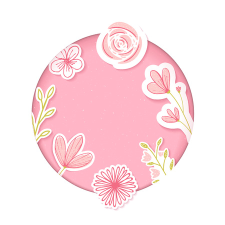Circle frame. Pink paper clip art with hand drawn flowers. Blank template for feminine products, cosmetics, sales. Illustration