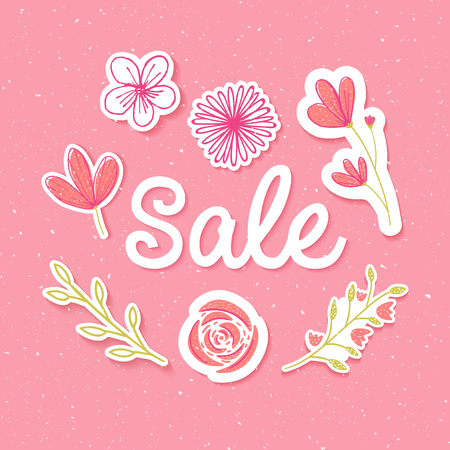Spring sale banner with paper flowers stickers and inscription. Pastel pink card design Illustration