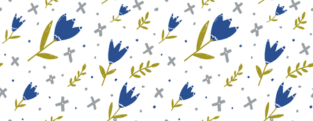 Seamless floral background for paper, fabric and web design. Blue hand drawn tulips, green twigs and grey geometry shapes on white.