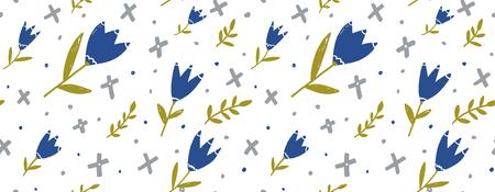 Nahtloser Blumenhintergrund für Papier, Gewebe und Webdesign. Blaue Hand gezeichnete Tulpen, grüne Zweige und graue Geometrieformen auf Weiß.