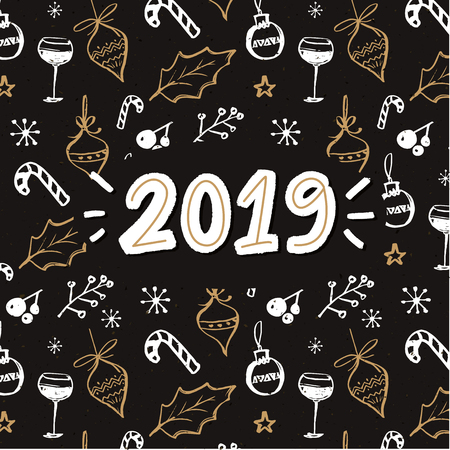 2019 handwritten year number. New year card with Christmas dark pattern Stock Vector - 95738080